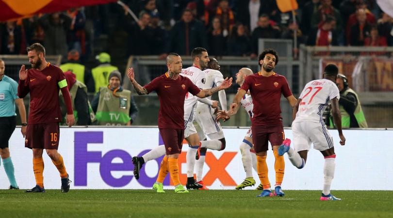 Roma fuori dall'Europa League. Strootman ed El Shaarawy non bastano a Luciano Spalletti. Passa il Lione.