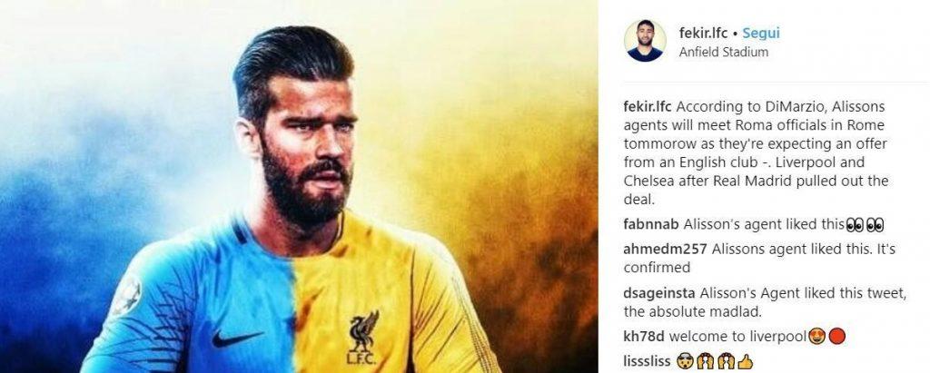 Rebus Alisson: Sarri lo chiama al Chelsea. Ma il Liverpool è ad un passo