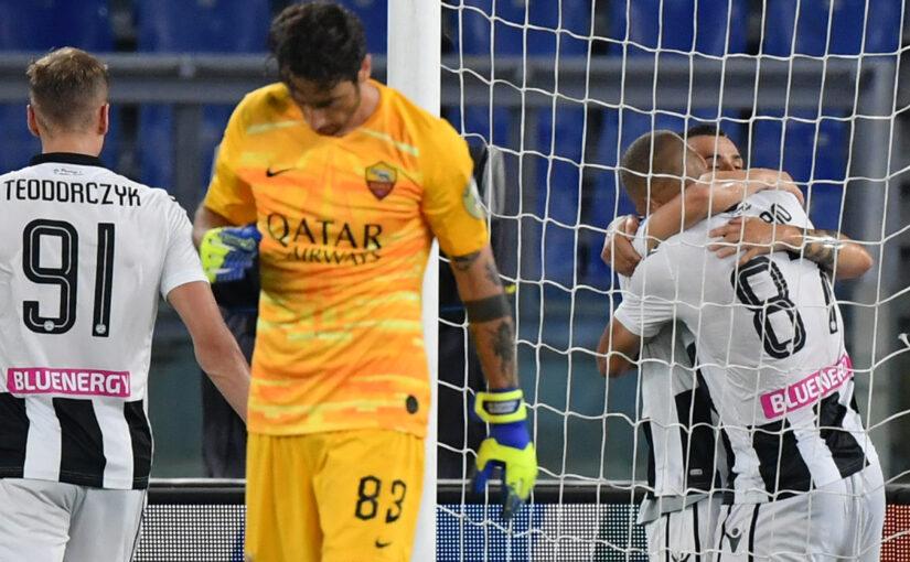 Le statistiche di Roma-Udinese 0-2: 180 minuti di digiuno, arriva la nona sconfitta in campionato